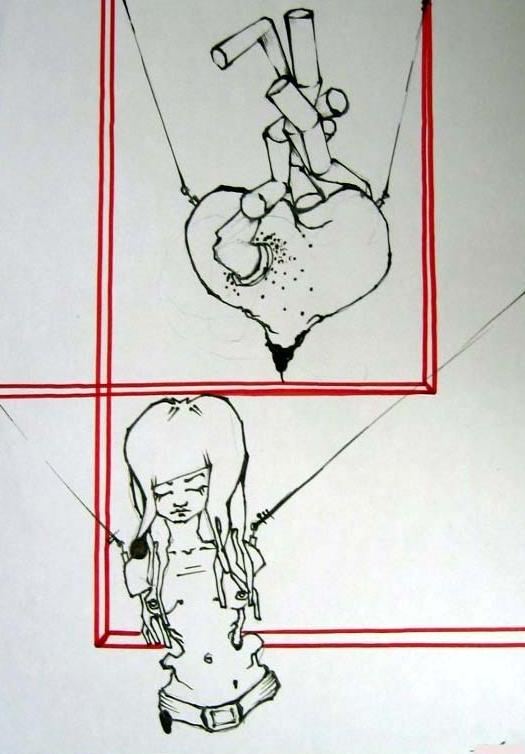 immagine di un disegno prodotto nel percorso di arteterapia di una signora con disturbo alimentare